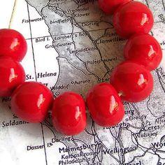 Cherry Red Beads, Handmade Beads, Ceramic Beads, African Beads