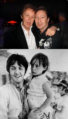 Julian Lennon and Paul McCartney - then and now