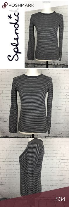 Splendid long sleeve tee Perfect Splendid tee with navy and white thin stripes, new with tag. Wear with jeans and a jacket for a cozy casual look. 100% cotton. New. Tag says size 12 but fits like a small. Retails for $42. Splendid Tops Tees - Long Sleeve