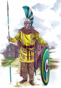 Member of the Pontienses regiment, IV cent. AD. His crest is just for decoration; It is not a symbol of rank. Art by Amelianvs.