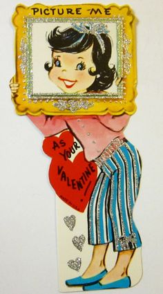 Picture Me As Your Valentine! { Vintage Valentine Card / Heart / Retro Valentines / St Valentines Day / Love / Crush / boyfriend / girlfriend }