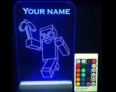 Minecraft lamp, personalized name sign, Minecraft Night Light Led, custom name, STEVE + gift