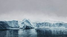 "Deception Island, Antarctica – drawing by Zaria Forman from 2015 in the size of 72""x128""."
