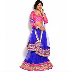 Moiaa Beauteous Blue color net lehenga with blouse - MOIAA - 260154 Net Lehenga, Lehenga Choli, Sari, Different Types Of Fabric, Indian Attire, Blouse, Skirts, Color, Beautiful