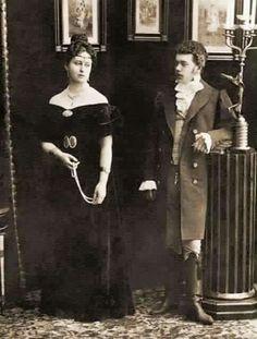 Grand Duchess Elizabeth Feodorovna & Tsarevich Nicholas Alexandrovich  1880s