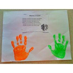 What is a Friend? Handprint Craft & Poem. Thinking preschool grad gift for all my soon to be in kindergartners