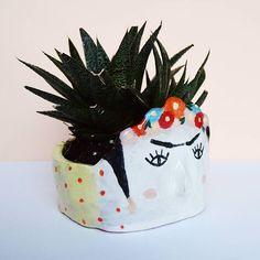 Frida Kahlo ceramic planter Sale -20% Porcelain vase Face plant pot ...