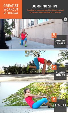 Greatist Workout of the Day: Friday, November 14th: 12 minutes of 10 jumping lunges (per leg), 15 plank jumps, 10 sit-ups