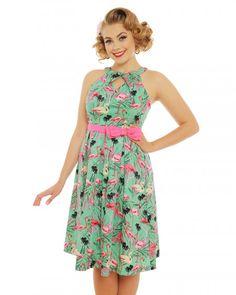 'Cherel' Green Flamingo Print Cotton Swing Dress