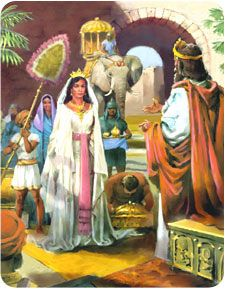 "Solomon greeting the Queen of Sheba, ""Ask what I shall give thee."" 1 Kings 3:5. The young king could have requested money, fame, or long life, but he didn't. Instead, he asked for wisdom to justly govern God's people. In answer to that humble and heartfelt prayer, the Lord gave Solomon both wisdom and wealth"