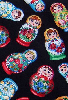 russian doll fabric close up by timeless treasures Ballerina Silhouette, Matryoshka Doll, Folk Fashion, Polish Recipes, Kitsch, Painted Rocks, Bunt, Decoupage, Sewing Projects