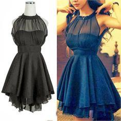 Sweet Slim Solid Color Sleeveless Mesh Irregular Hem Dress