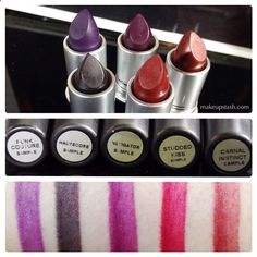 MAC Lipsticks in Punk Couture, Haute Core, Instigator, Studded Kiss and Carnal Instinct Swatches December 26th 2013