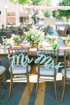 Mr. and Mrs. chair signs | Esther Louise
