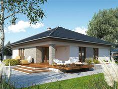 Projekt domu MT Ariel paliwo stałe CE - DOM - gotowy koszt budowy Home Garden Design, Dream Home Design, Modern House Design, Bungalow Haus Design, Bungalow House Plans, Best House Plans, Dream House Plans, House Paint Exterior, Interior Exterior