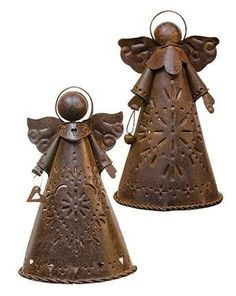 Rusty Angel Candle Holders ~ Set of Two!