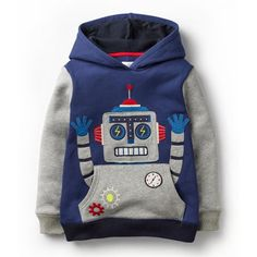 Littlemandy Boys Hoodies Robot Appliques 2018 New Baby Kids Long Sleeve Tops Cotton 2018 Brand Winter Clothes Clothing Winter Outfits For Girls, Kids Outfits Girls, Shirts For Girls, Warm Sweaters, Cute Sweaters, Girls Sweaters, Fleece Sweater, Boys Hoodies, Summer Shirts