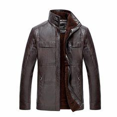 Mens PU Leather Jacket Stand Collar Velvet Thicker Warm Winter Coat Outwear Size for sale online Ghana, Pu Jacket, Jacket Style, Shorts Jeans Branco, Georgia, Marshall, Korea, Mens Winter Coat, Warm Outfits