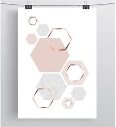 Hexagon Print Honeycomb Art Blush Print Copper by PrintAvenue