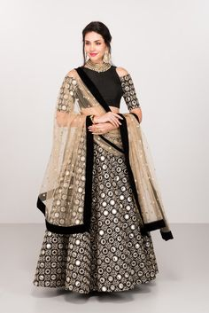 Admirable Black Colored Designer Lehenga Choli with Matching Color unstiched blouse. It contained the Embroidered work with inner. The Lehenga can be customized up to bust size Lehenga Length Waist size and Dupatta size Mtr. Indian Bridal Fashion, Indian Wedding Outfits, Indian Outfits, Indian Clothes, Bridal Outfits, Bridal Dresses, Pakistani Dress Design, Pakistani Dresses, Indian Dresses