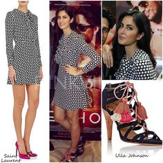 Katrina Kaif in a polka dotted monochrome ruffled dress by Saint Laurent, she styled her look with tasseled cage sandals by Ulla Johnson... Barely there make up and simple hair punctuated her look... Adorable she looked! Love the tassel sandals! (Aug, 2016)