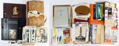 Lot 305: Scrap Book and Photograph Album Assortment; Including a 1940s auto racing scrapbook, a 1940s auto racing photograph album, a c.1937 matchbook cover scrapbook and loose architectural, airline and portrait photographs, travel, restaurant, college and vacation ephemera from Illinois, Germany, New York City, Amsterdam, Paris and Austria from the 1920s through the 1950s era;