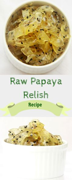 A Recipe for sweet and tangy Raw papaya relish that will go well with an Indian meal and you can use it in a sandwich or a burger, too.