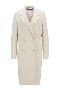 BOSS - Relaxed-fit coat in waffle-structured stretch fabric Fit Back, Jacquard Weave, Smart Casual, Hugo Boss, Waffle, Stretch Fabric, Double Breasted, Light Blue, Suit Jacket