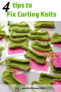 How do I prevent knits from curling? Why do they curl? FAQ answered and solutions for preventing and fixing curling of knits. Prevent Knits from Curling Knitting Basics, Knitting Help, Easy Knitting Projects, Knitting Stiches, Knitting Blogs, Knitting Needles, Hand Knitting, Knitting Patterns, Start Knitting