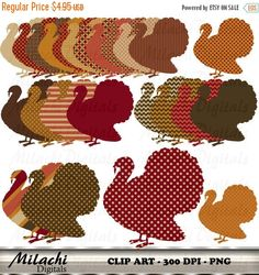 70% OFF SALE Thanksgiving Turkey Digital Clip by MilachiDigitals