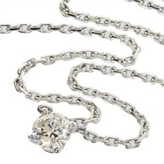 Cartier 18K White Gold Diamond Pendant Necklace Love Seaport Chest Mirror With Box/Cert