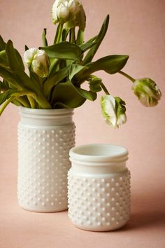 "Milk glass jars that are perfect for beautiful bouquets, from a lemon/yellow themed bridal shower inspired by Wedding Paper Divas ""Fresh Romance"" invitations."