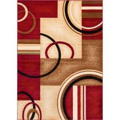 Well Woven Barclay Arcs and Shapes Red 6 ft. 7 in. x 9 ft. 6 in. Modern Geometric Area Rug-547806 - The Home Depot