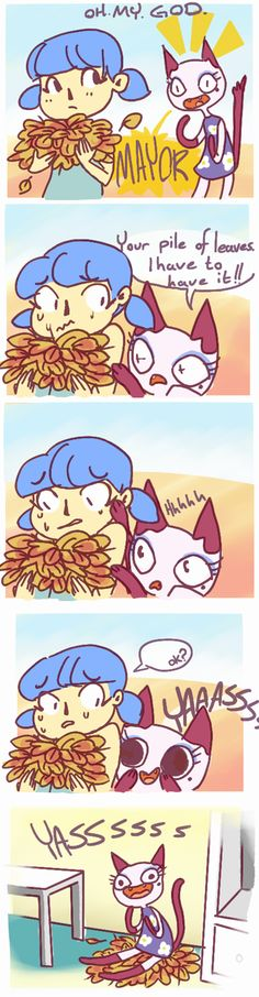 Olivia was REALLY excited about my pile of leaves the other day. OMG Olivia's face in the last panel. It gets funnier the longer you look at it.