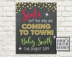 Are you looking for a great way to share with your friends and family the exciting news of expecting a baby this Christmas? This cute chalkboard printable not only makes a great photo prop and / or card but its also perfect to upload onto social media sites to make your big announcement!  ♥♥♥ At checkout please provide me with the last name / family name you would like used on your design in the notes to seller box ♥♥♥  You will receive a digital file formatted to be printed as either a…
