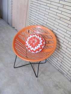 Vintage 1970's Mod Orange Solair Shell Chair  by FrenchToastKitty