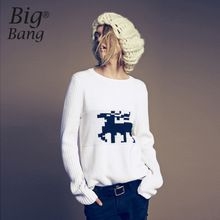 Vertical Stripe Knitted Long Sleeve Women Sweater 2015 Autumn and Winter Pullovers Reindeer Christmas Pullover Sweater M15112602(China (Mainland))
