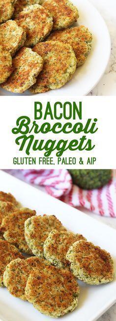 Bacon Broccoli Veggie Nuggets (Paleo, AIP, Gluten Free) (Whole 30 Recipes Appetizers) Veggie Nuggets, Paleo Bacon, Paleo Breakfast, Hamburgers, Paleo Diet, Paleo Vegan, Diet Foods, Paleo Recipes, Free Recipes