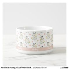 Adorable bunny pink flowers custom name bowl Photo On Mug, Personalized Buttons, Trim Color, Gifts For New Moms, Nursery Themes, Cute Bunny, Ceramic Bowls, Cold Drinks, Dog Bowls