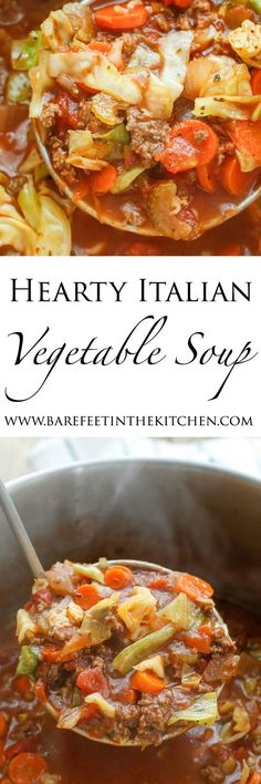 Hearty Italian Vegetable Beef Soup recipe filled with chunks of ground beef, plenty of vegetables, and generous Italian spices, Paleo, (Paleo Soup Sides) Beef Soup Recipes, Paleo Soup, Paleo Recipes, Cooking Recipes, Turkey Recipes, Sirloin Recipes, Paleo Chili, Cabbage Soup Recipes, Kabob Recipes