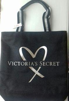 Brand New Victoria S Secret Fashion Show Tote Bag Black Glitter