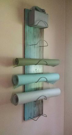 6 Tier Gradient Flow Yoga Mat Holder Wall by WuduWarehouse