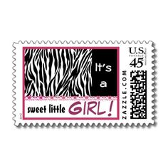 Black White Pink Damask It's a Girl Postage Stamp