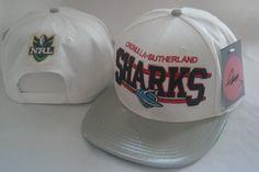 2828f997b13 NRL Sharks White Snapback Hats Brim GrayLeather