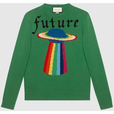 Gucci Wool Sweater With Planet Intarsia ($1,380) ❤ liked on Polyvore featuring men's fashion, men's clothing, men's sweaters, mens green sweater, men's wool crew neck sweaters, mens woolen sweaters, mens crewneck sweaters and mens crew neck sweaters
