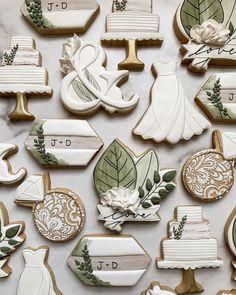 Fancy Cookies, Iced Cookies, Cut Out Cookies, Custom Cookies, Sugar Cookies, Cookies Et Biscuits, Wedding Shower Cookies, Cookie Wedding Favors, Wedding Sweets