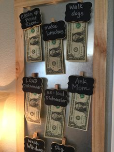 Chore Chart with 8 magnetic dollar holders. Motivate your kids in no time with this handy little chart. Additional magnets available $2 each in sets