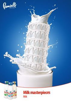 Premialle Milk Pizza Tower Advertising Campaign