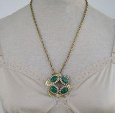 Vintage 50s Mid Century Hollywood Regency Goldtone Wheat Chain Mottled Glass Rhinestone Leaf Pendant Necklace by ThePaisleyUnicorn, $15.00