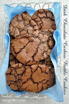 Dark Chocolate Cashew Brittle Cookies from farmgirlgourmet.com